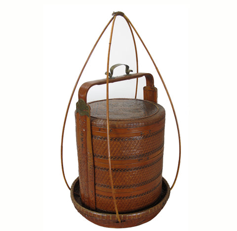 Chinese Antique Bamboo Food Box w Basket - Dyag East