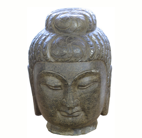 Large Hand Carved Stone Guan Yin Head - Dyag East