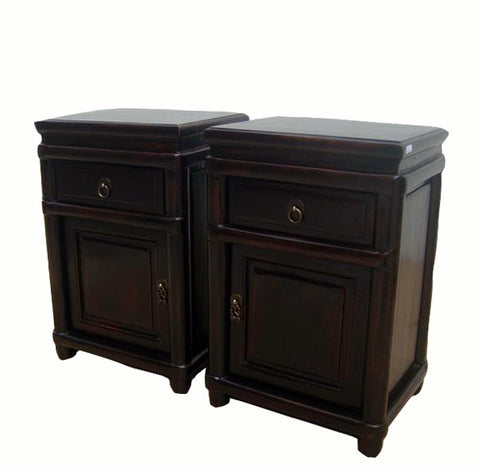 Round Cornered Dark Reddish Brown Lacquer Night Stands - Dyag East