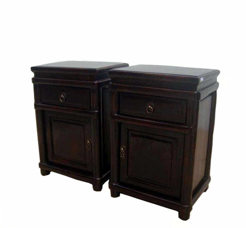Z-A Pair of Round Cornered Dark Reddish Brown Lacquer Night Stands - Dyag East