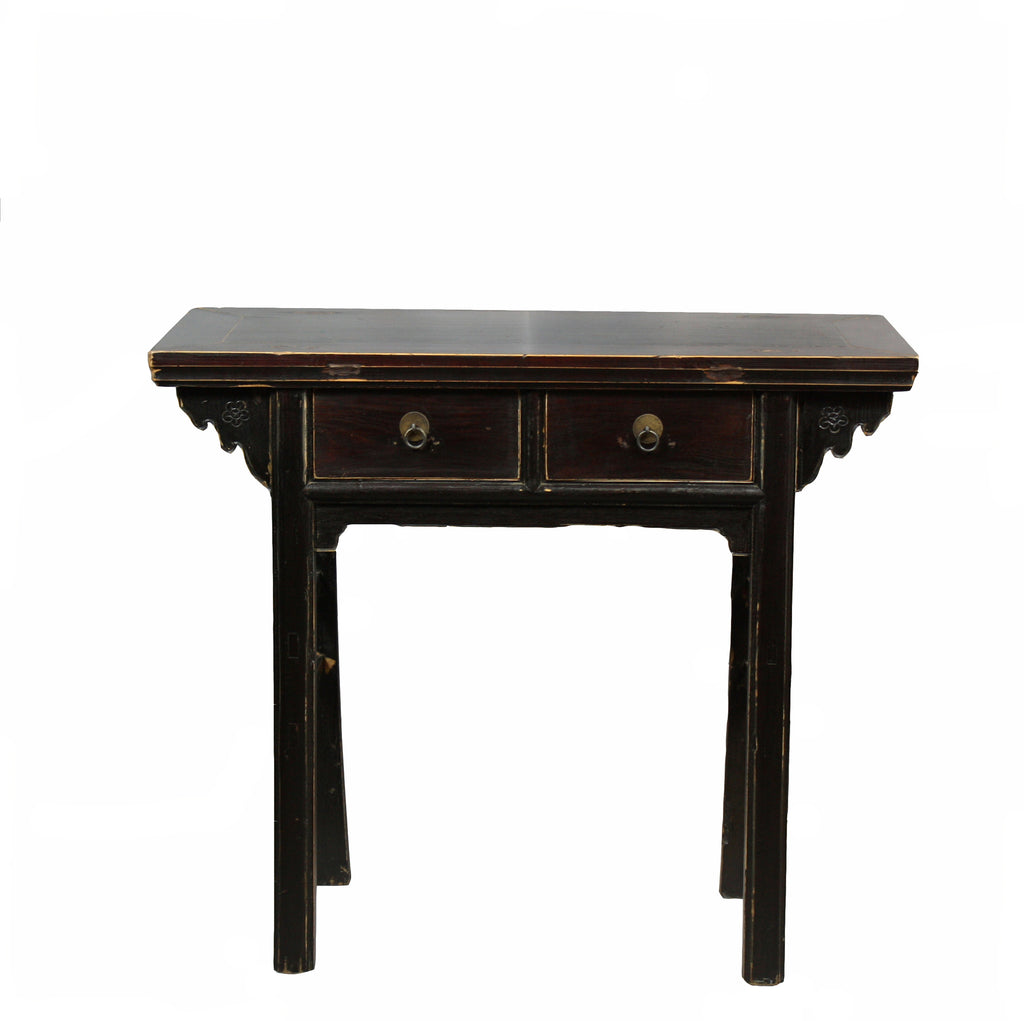 Two Drawer Black Accent Table - Dyag East