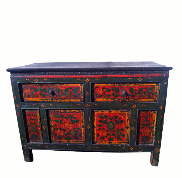 Z-Hand Painted Tibetan Side Table - Dyag East