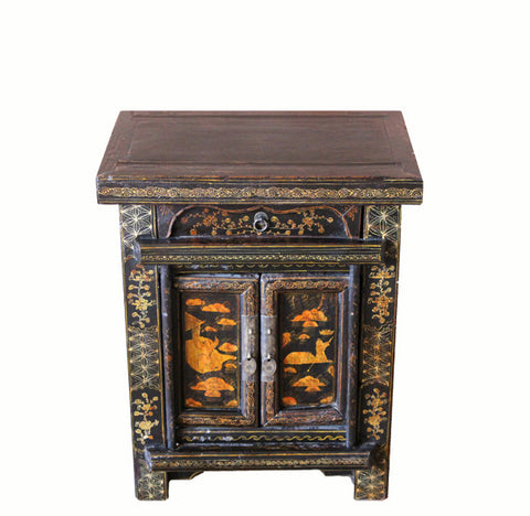z-Pair of Antique Chinoiserie-Style Night Stand - Dyag East