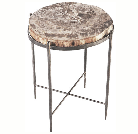 Round Living Edge Petrified Wood Top w Iron Stand Accent Table or Side Table 2 - Dyag East
