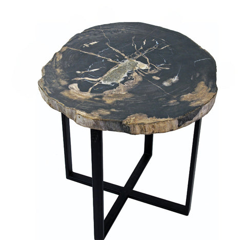 Petrified Wood Top w Iron Stand Accent Table 12 - Dyag East