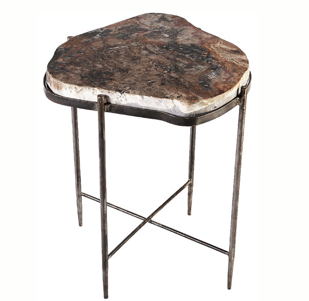 Round Living Edge Petrified Wood Top w Iron Stand Accent Table or Side Table 4 - Dyag East