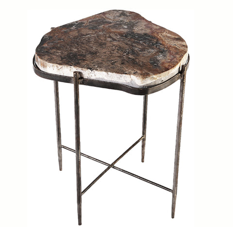 Petrified Wood Top w Iron Stand Accent Table 8 - Dyag East