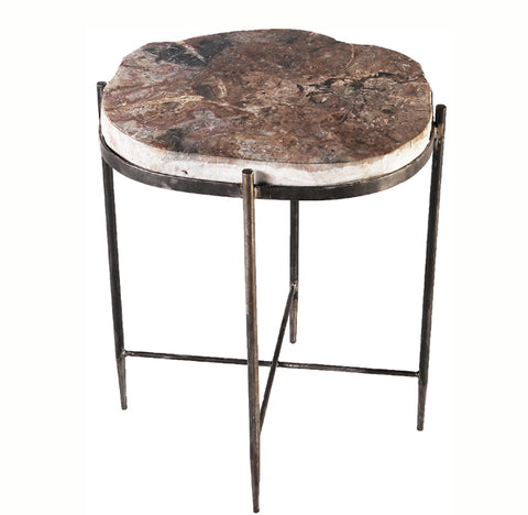 Round Living Edge Petrified Wood Top w Iron Stand Accent Table or Side Table 5 - Dyag East