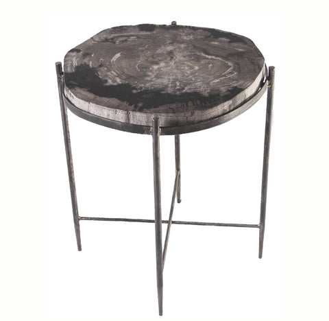 Petrified Wood Top w Iron Stand Accent Table 10 - Dyag East