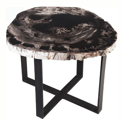 Petrified Wood Top w Iron Stand Accent Table 11 - Dyag East