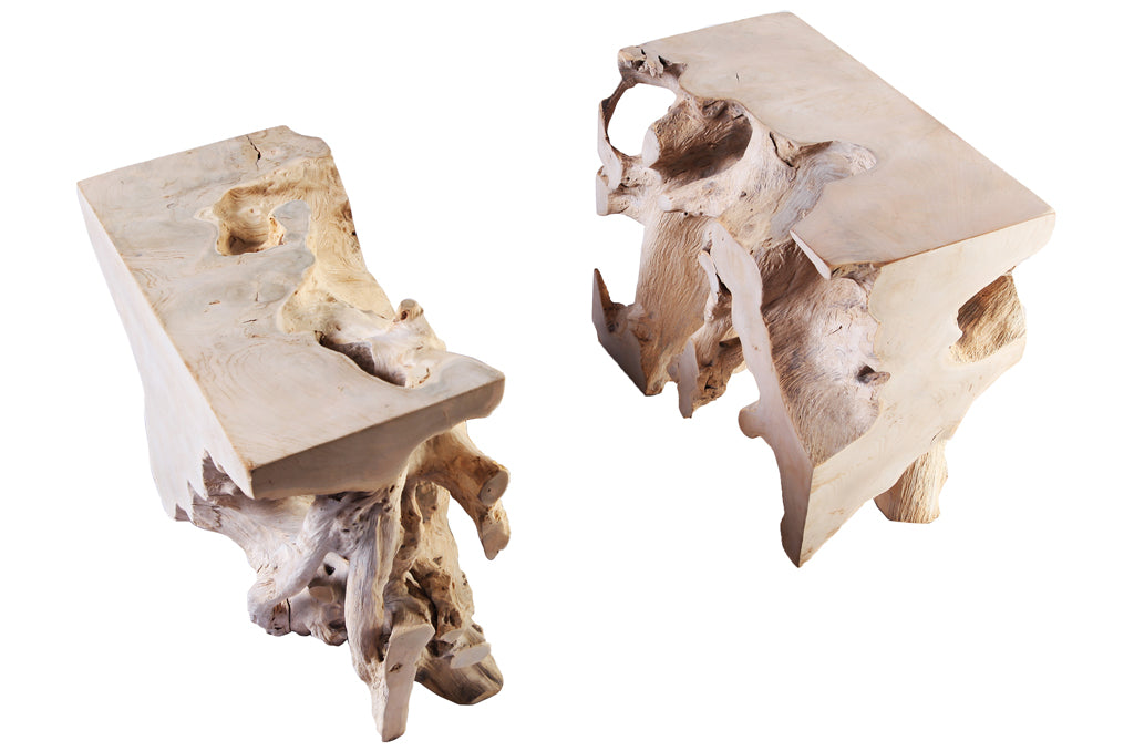 Pair of Sculptured Teak Root Coffee Table Base - Dyag East