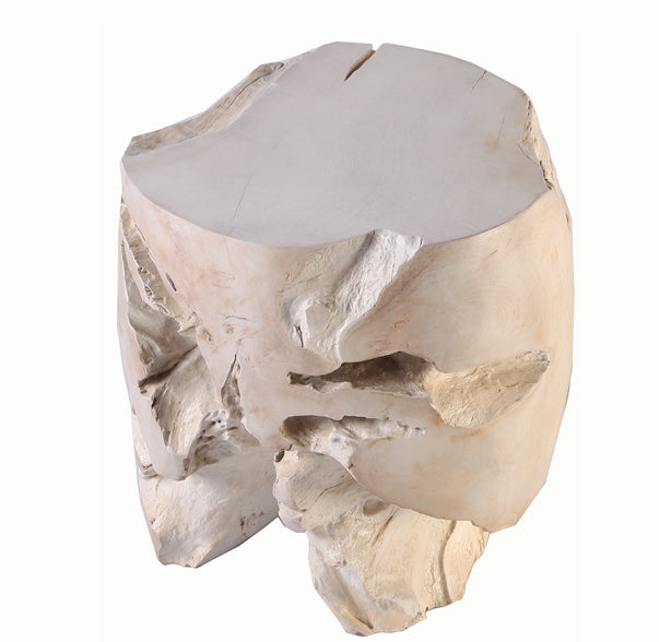 Bleached Teak Root Accent or Side Table or Stool 3 - Dyag East