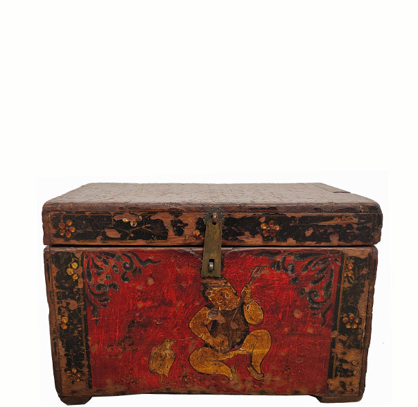 Small Hand Painted Antique Chinese Trunk 1