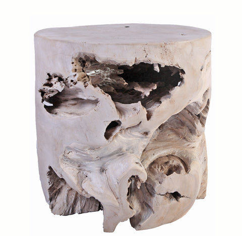 Bleached Teak Root Accent or Side Table or Stool 35