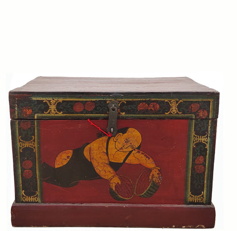 Small Hand Painted Antique Trunk 2