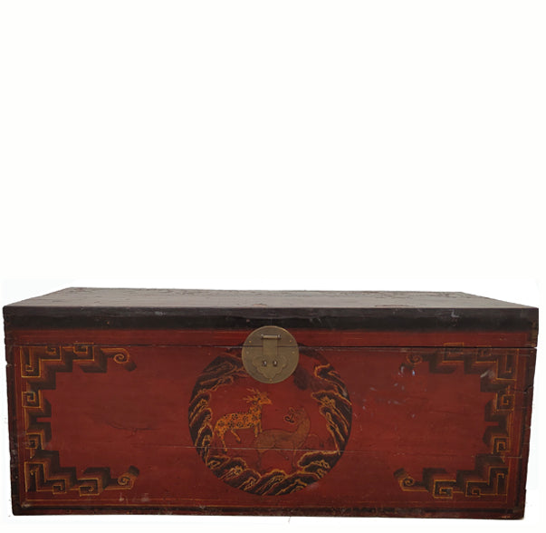 Hand Painted Animal Antique Trunk