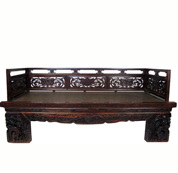 Antique Chinese Daybed with Hand Carved Railing - Dyag East