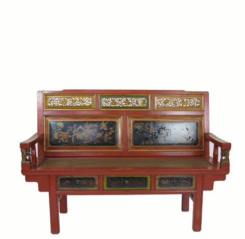 Antique Chinese Chinoiserie-Style Loveseat - Dyag East