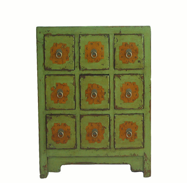 Antique Chinese Apple Green Medicine Cabinet - Dyag East