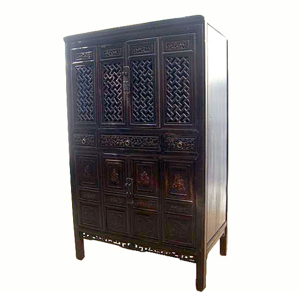 Dark Reddish Brown Lattice and Carved Cabinet
