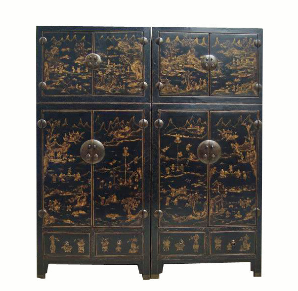 Pair of Antique Chinoiserie-Style Cabinet - Dyag East