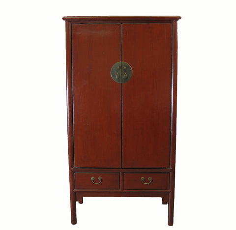 Z-Red Lacquer Antique Noodle Cabinet - Dyag East