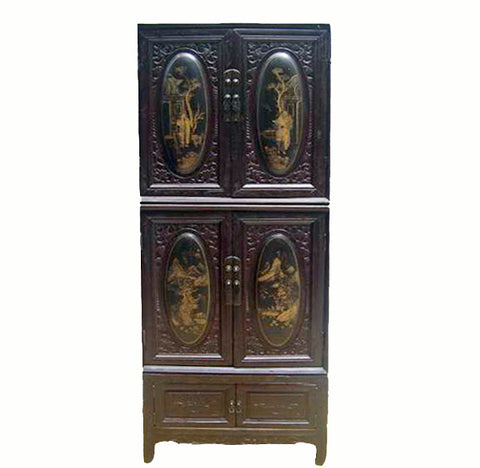 Chaozhou Cabinet w Painted and Carved Panels 2 - Dyag East