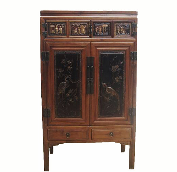 Cabinet w Two Panel Doors Carved with Crane and Phoenix 2 - Dyag East