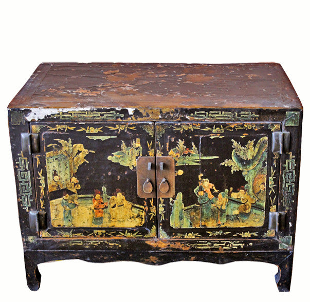 Z-Small Antique Black Lacquer Cabinet - Dyag East