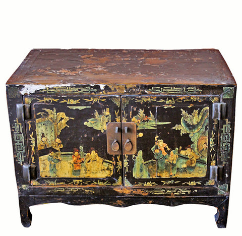 Small Antique Black Lacquer Cabinet - Dyag East