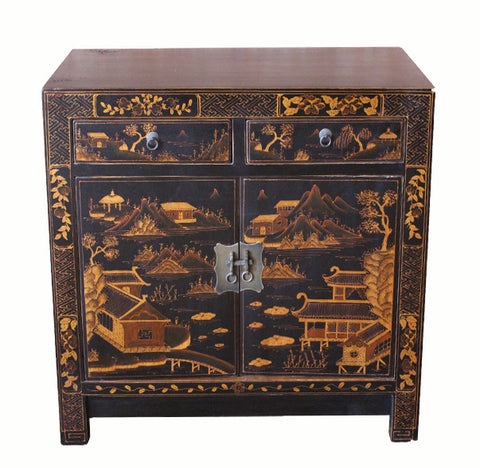 Square Corner Black Cabinet with Gilt Painting - Dyag East