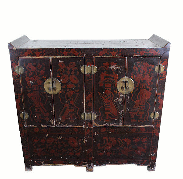 Dark Red Shanxi Antique Chest Cabinet - Dyag East