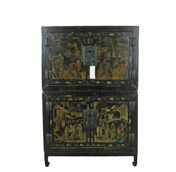 Two Compartments Cabinet Black Lacquer and Gilt Paint - Dyag East
