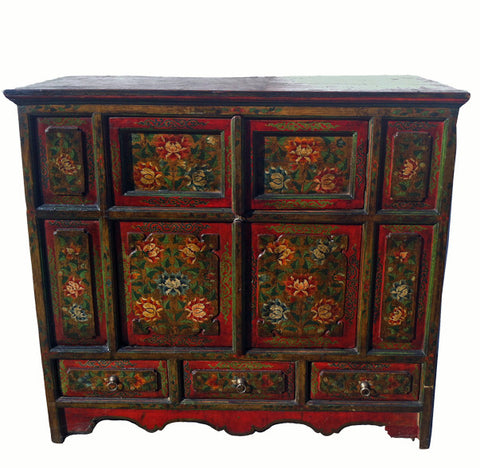 Hand Painted Late 19th Century Tibetan Cabinet - Dyag East
