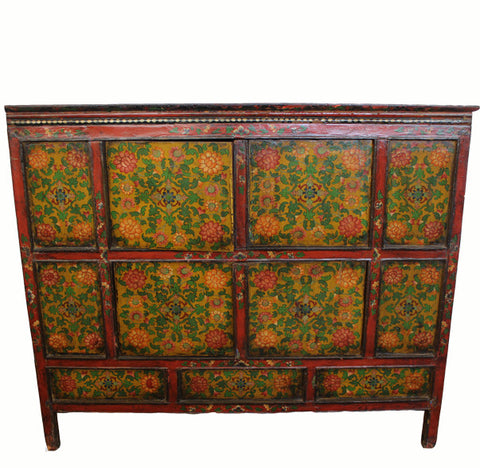 Antique Tibetan Cabinet with Flower Motifs - Dyag East