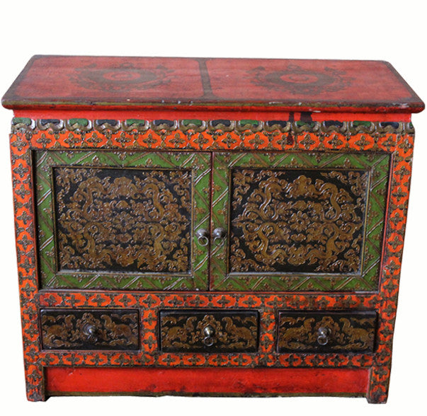 Small Tibetan Cabinet With Embossed Doors And Drawers   Dyag East ...
