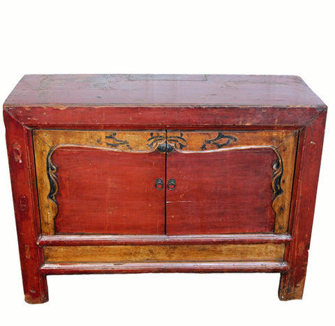 z-Red Mongolia Cabinet Table with Carved Border Doors - Dyag East