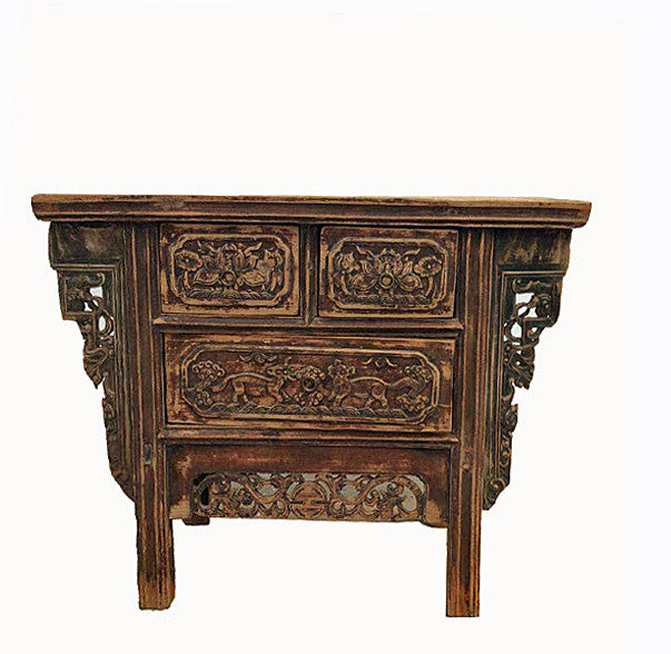 Fine Carved Three Drawers Chinese Antique Cabinet - Dyag East