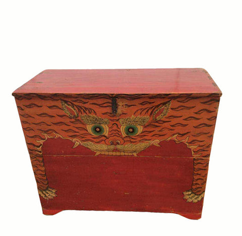 z-Hand Painted Red Tiger Trunk - Dyag East