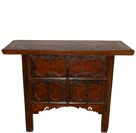 Z-Late 19 Century Asian Cabinet with Three Decorated Drawer Fronts - Dyag East
