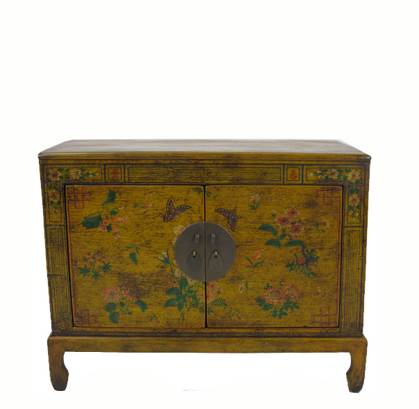 Small Vintage  Antique Yellow Chinese Cabinet - Dyag East