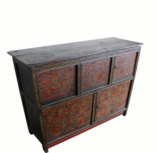 Embossed Flying Dragons Tibetan Cabinet - Dyag East