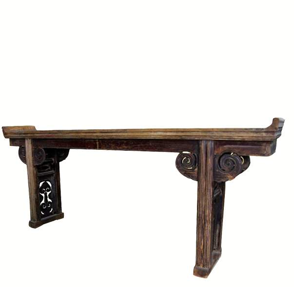 Antique Altar Table with Open Carved Double Ruyi Legs