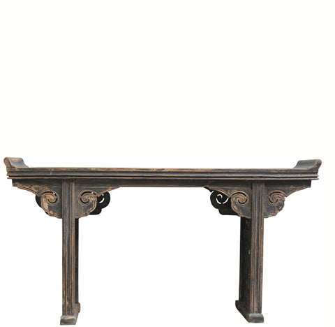 Black Altar Console Table with Cloud Spandrels - Dyag East
