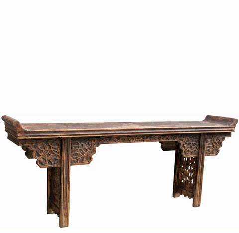 Asian Alter Table with Scrolling Tendril Carved Spandrels and Apron - Dyag East