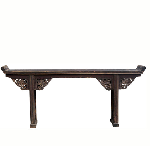 Brown Altar Table with Hand Carved Peonies Flower Spandrels - Dyag East