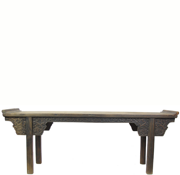 Hand Carved Spandrels and Apron Antique Asian Altar Table
