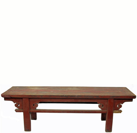 Red Low Console Table with Spandrels