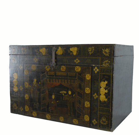 Gilded Black Chinoiserie-Style Trunk - Dyag East