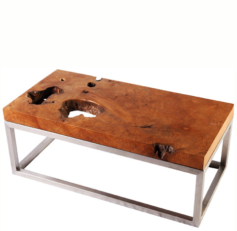 Solid Teak Top and Stainless Steel Base Coffee Table 2 - Dyag East